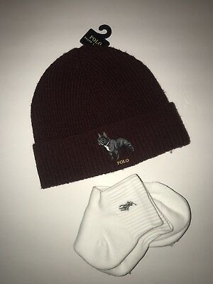 bb1c65c36f1 Lot Ralph Lauren Polo French Bulldog Watch Cap And Socks Beanie Ski Hat Nwt