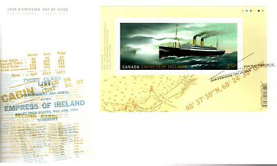 2014 #2746 RMS Empress Of Ireland S/S FDC with CP cachet