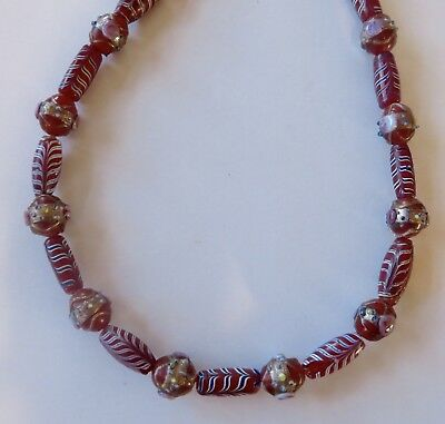 Ethnic Design Necklace/Antique, Rare Venetian African Feather, Fancy Trade Beads