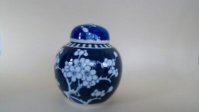 Antique Ginger Jar Painted With Prunus Blossom Chinese Quing Dble Ring To Base