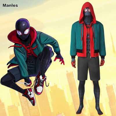 Spider-Man Into the Spider-Verse Costume Miles Morales Cosplay Zentai Jumpsuit