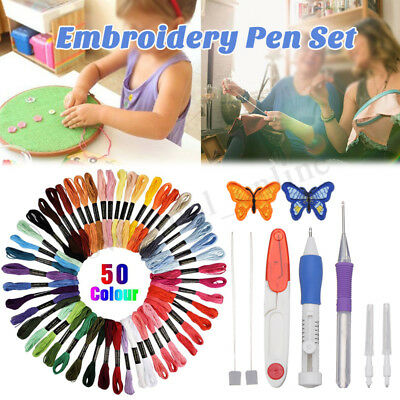 50 Color Threads Embroidery Needle Pen Kit Set Craft Punch Magic DIY   ES
