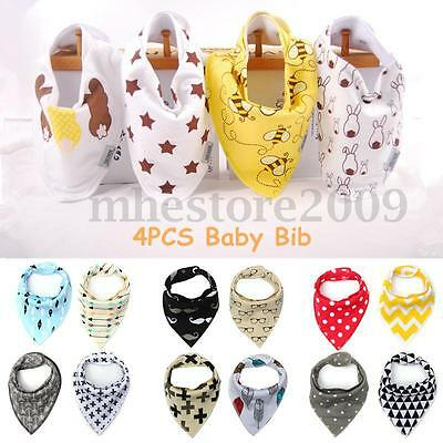 4Pcs Unisex Baby Kids Bandana Infant Bibs Feeding Saliva Dribble Towel  UK IT