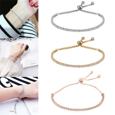 Women Fashion Rhinestone Crystal Bracelet Adjustable Bangle Cuff Jewelry Gift
