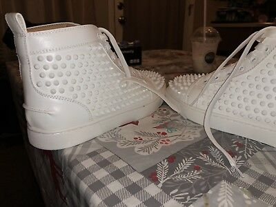 d88f44537c9 CHRISTIAN LOUBOUTIN MEN S Sneakers All White with spikes size 42 9US ...