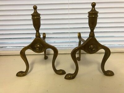 Pair Of Vintage Solid Brass Fire Dogs