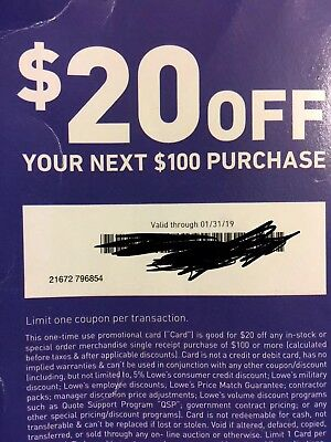 Lowes $20 OFF $100Coupons-InStore and Online Expires 1-31-19