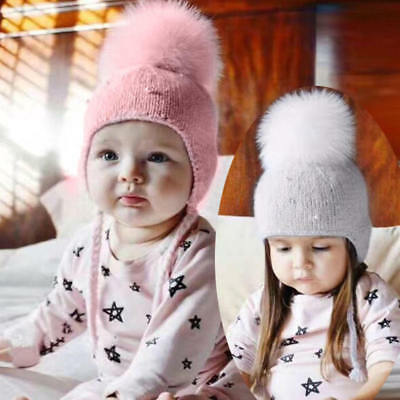 Infant Kids Baby Boys Girls Fur Pom Hat Winter Warm Knit Bobble Beanie Cap