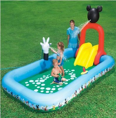 Disney Mickey Mouse Inflatable Splash Play Piscina Infantil Juguete Agua Spray