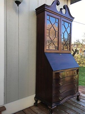 Antique elegant wooden mahogany bureau bookcase glass cabinet