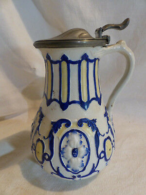 verseuse chope pot ancienne porcelaine etain James Dixon &sons Donatello 19eme