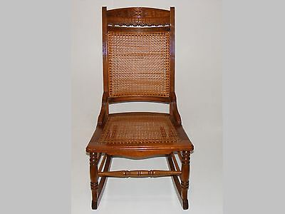 Antique carved wood shaker sewing rocker rocking chair woven cane seat & back