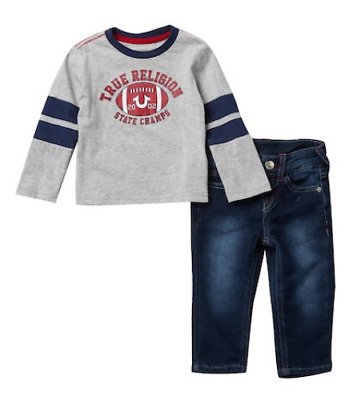 True Religion Baby Boys Jeans Shirt Set Football Logo Outfit Toddler 12M 24M NWT