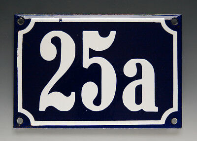 ALTE EMAIL EMAILLE HAUSNUMMER 25a in BLAU/WEISS um 1960
