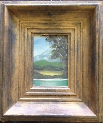 Alps Oil Painting Mountains Magnificent Frame Lake in the Antique Signed
