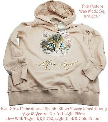 💕 Next Girls Light Pink Gold Embroidered Sequin Cat Kitten Fleece Hoodie Jumper
