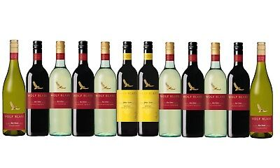 White & Red Wine Mixed Wolf Blass Pack Big Brand Special 12x750ml Free Delivery