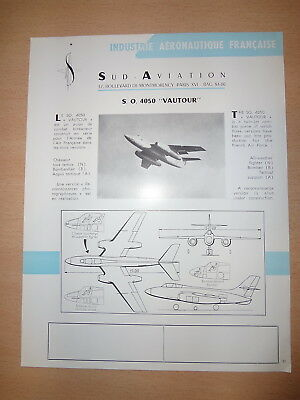 Aeronautique : SUD AVIATION - Fiche technique SO 4050 VAUTOUR