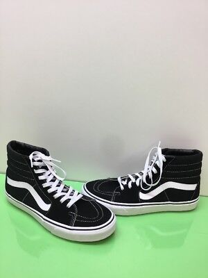 17ec10f8bd VANS Sk8 Hi Black White Canvas Suede Lace Up Skate Shoes Men Size 9.5 Womens