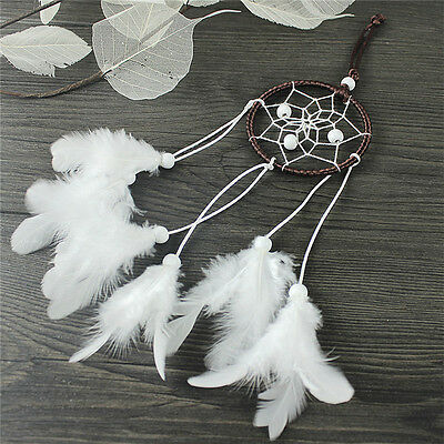 Dream Catcher With White Feather Beads Wall Hanging Decor Craft Car Ornament FD