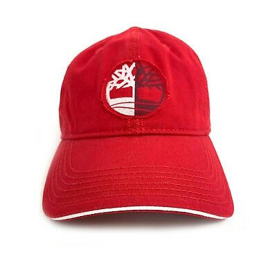 7e609683 TIMBERLAND BASEBALL HAT Red Brown Patch Snap Back Cotton Adult Solid ...