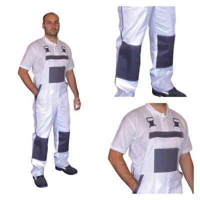 Bib and Brace Overalls Painters Decorators Work Trousers Pants Cotton White UK.