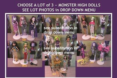 PICK 3 MONSTER HIGH DOLL LOTS ~ SEE PHOTOS MANY DOLL OPTIONS cleo wings mermaid