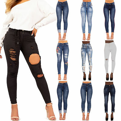 Womens High Waisted Ripped Knee Jeans Ladies Skinny Stretchy Jeggings Pants Size