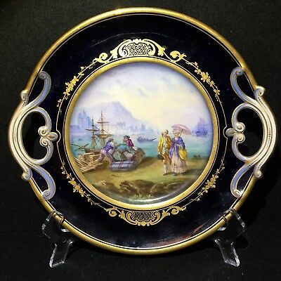 Antique French Porcelain Sevres Style Courting Couples Cobalt Blue & Gilt Plate