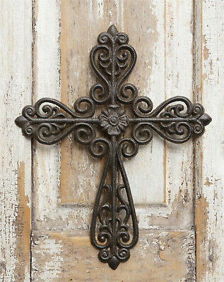Cast Iron Religious Cross Floral Center Scrollwork Religious Christian Wall Art