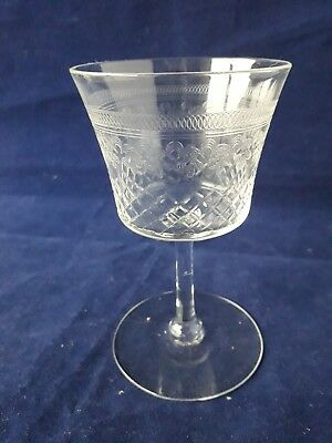 VINTAGE PALL MALL LADY HAMILTON EDWARDIAN CRYSTAL SHERRY GLASSES SET OF 6  (37a)