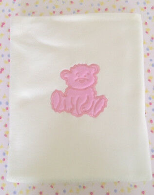 Fuzzy Bear Cot Baby Blanket - Pink. Brand New! Excellent Quality. End of Line.