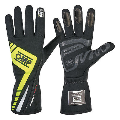 OMP First Evo FIA Race Gloves Black/Fluro Yellow Race / Rally