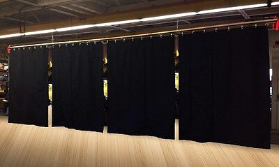 Lot of (8) Economy Black Curtain Panel/Partition, 10 H x 4½ W, Non-FR