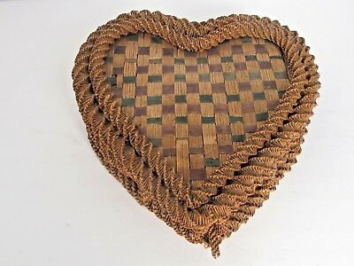 Antique Heart Shape Raffia Intricately Woven Sewing Basket c.1900