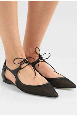 2ef83b086408 NEW  675 JIMMY CHOO Vanessa Flats Black Leather Mesh Pointed Toe Shoes Italy