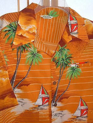 Island Fashions Vintage Mens Sailboat shirt Size L Polyester Made in Hawaii