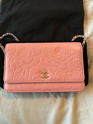 7a8db3061b5125 CHANEL Authentic Pink Camellia Wallet On Chain WOC Shoulder Bag Crossbody