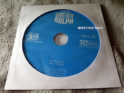3D WRECK IT RALPH Blu-ray Disney Pixar Movie (DISC ONLY)