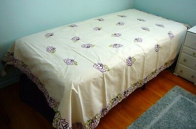 Antique Embroidered Bedspread 64 X 82 Coverlet Linen thin White Purple Rose