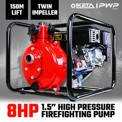 "1.5"" Petrol High Pressure Water Pump 8HP Fire Fighting Twin Impeller Irrigation"