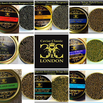 10 gr. Tasterpots of 8 types of quality caviar.Find your favourite.FREE Delivery