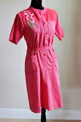 3cc3e7f2e231 Vintage 70s Lydia de Roma dress Pink Red Striped size 8 made in Italy Retro