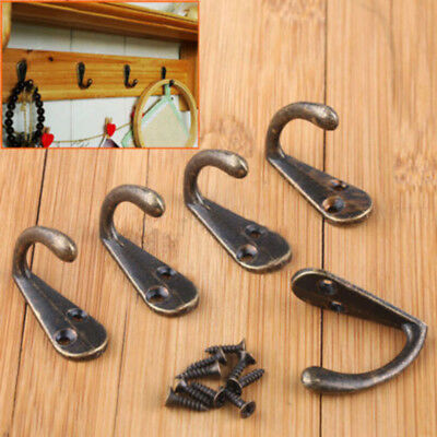 5/10pcs Wall Door Metal Antique Hooks Hangers For Key Clothes Coat Hat Bag Towel
