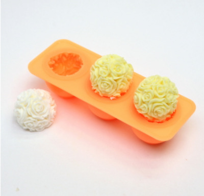 (Silicone Mould) Rose 3  Balls Silicone soap Mould plaster Mold