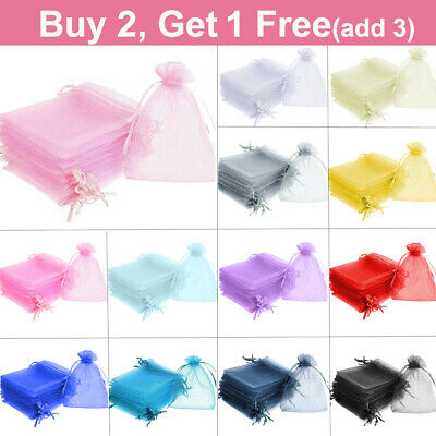 25/50pcs Organza Wedding Party Favour Gift Candy Bags Jewellery Pouch XMAS Small