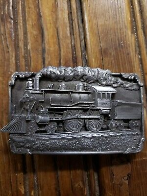 Railroad Train Pewter With Enamel Belt Buckle Vintage Siskiyou Belt Co H-40