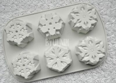 Snow flakes 6 balls  Silicone soap Mould plaster Mold