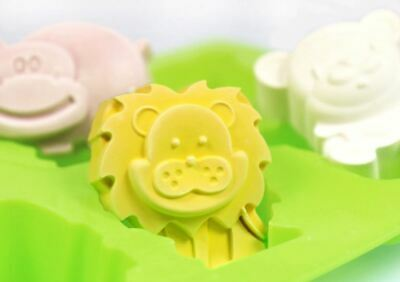 3 Animals 6 balls (Bear / Lion / Hippopotamus) Silicone soap Mould plaster Mold