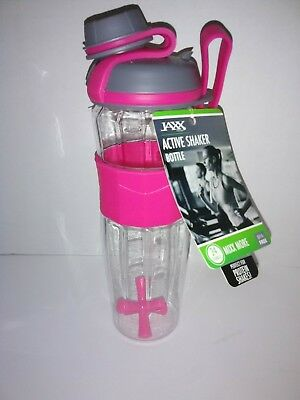 FIT & FRESH JAXX ACTIVE SHAKER 24 OZ BOTTLE Protein Shake PINK Fitness Workout
